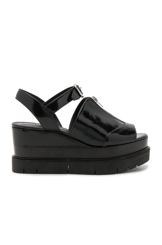 Allsaints Gino Platform Wedge Sandals In Black