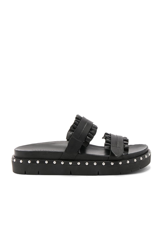 Allsaints Alanna Ruffle Studded Slide Sandals In Black