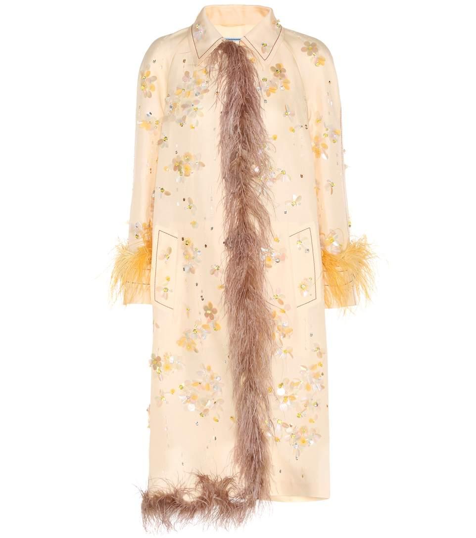 Prada Embellished Silk Coat With Feather Trim In Neutrals
