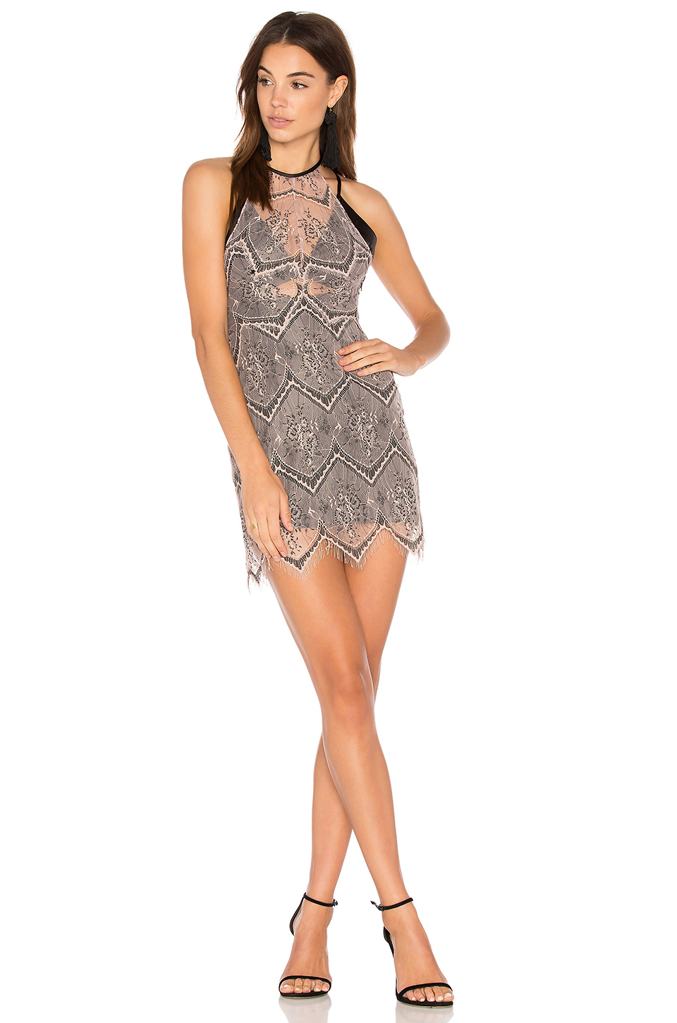 Free People Nothing Like This Lace Minidress In Nude