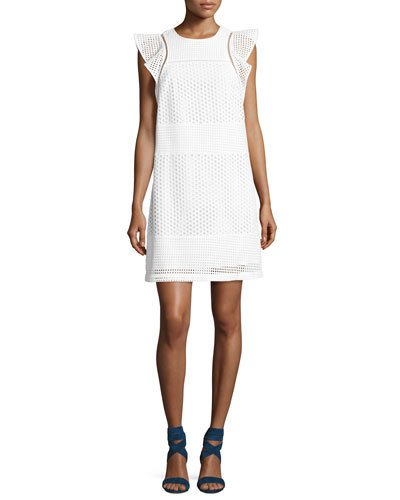 Michael Michael Kors Short-sleeve Eyelet-combo Shift Dress, White