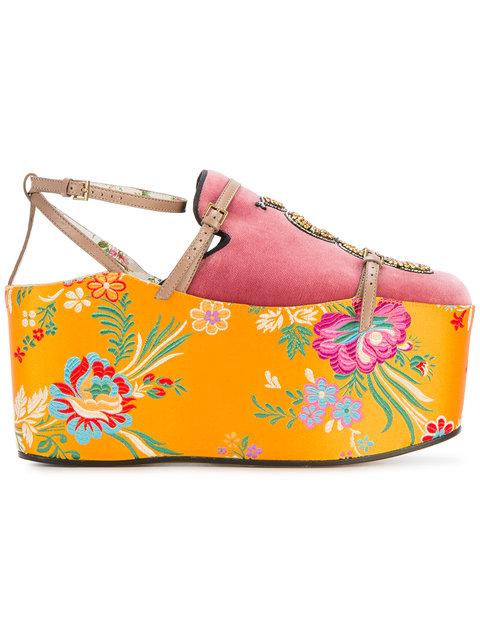 Gucci Convertible Embellished Velvet And Jacquard Platforms In Pink