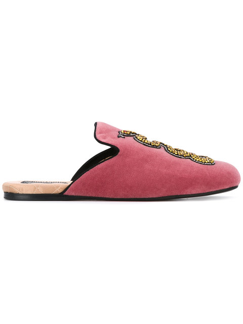 Gucci Pink Velvet Evening Slipper With Snake In Pink/purple