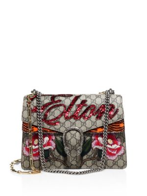 785195477800 Gucci Dionysus AppliquÉD Printed Coated-Canvas And Watersnake Shoulder Bag  In Beige
