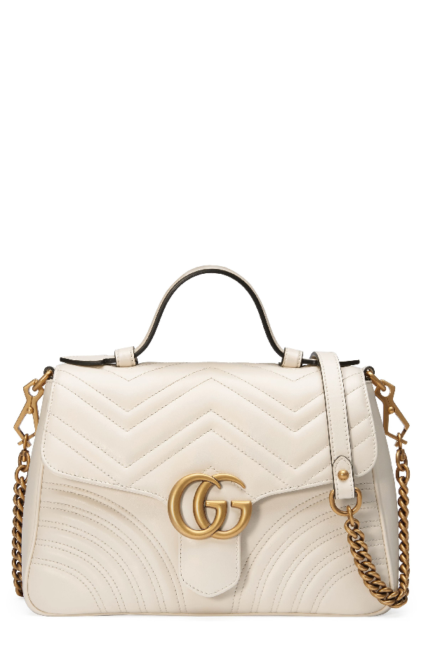 82d933744423 Gucci Gg Marmont Small Chevron Quilted Top-Handle Bag With Chain Strap