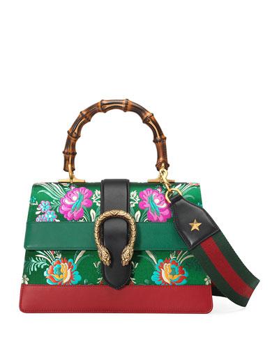 Gucci Dionysus Medium Jacquard Top-handle Satchel Bag, Yellow Metallic