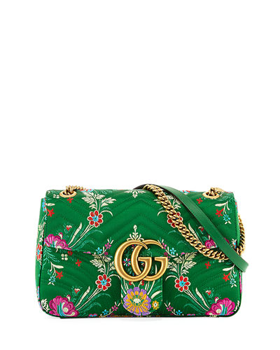 5fc986570e37b7 Gucci Gg Marmont Medium Jacquard Shoulder Bag, Green Metallic | ModeSens