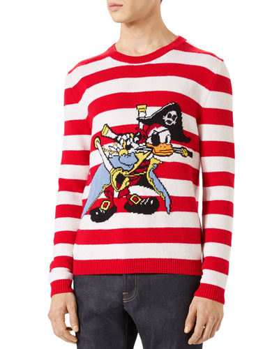 10868342f23 Gucci Intarsia Wool Sweater With Donald Duck Pirate In Red