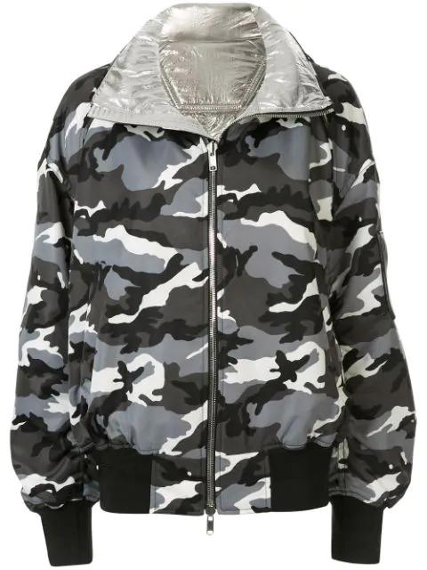 Juun.j Reversible Hooded Bomber Jacket In Silver