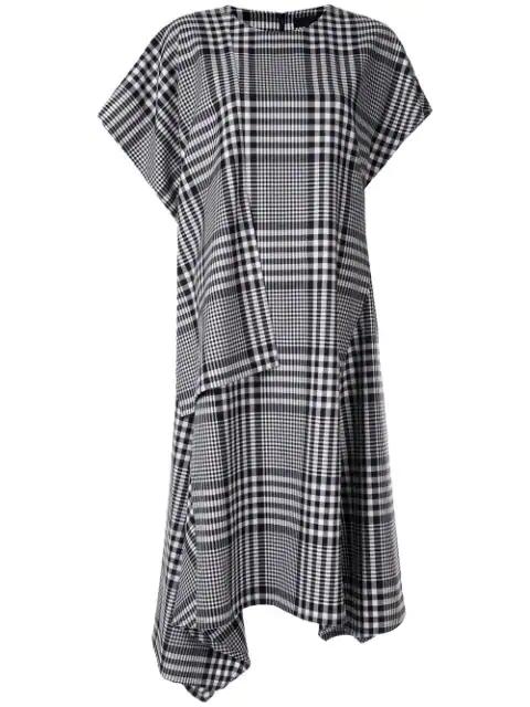 Juun.j Plaid Oversized Midi Dress In Black