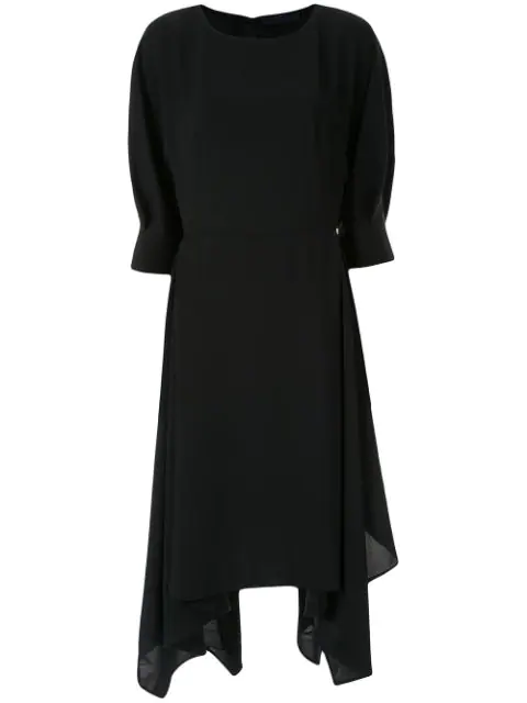 Juun.j Asymmetric Midi Dress In Black
