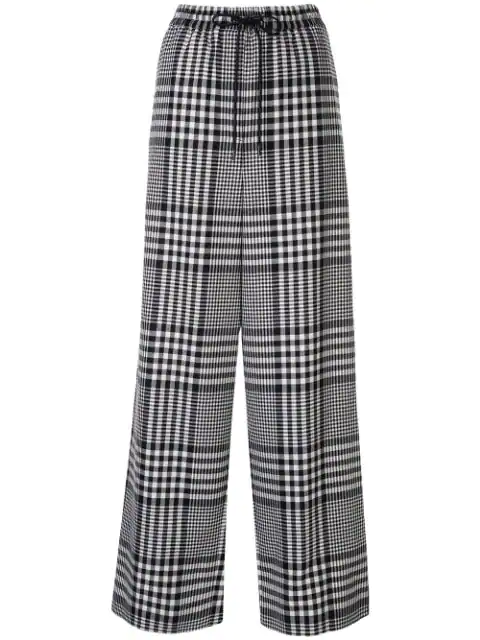 Juun.j Check Wide Leg Trousers In White