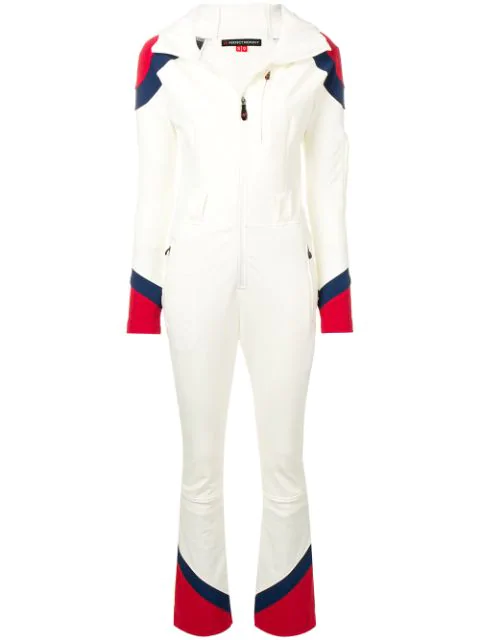 Perfect Moment Allos Chevron-panel Hooded All-in-one Ski Suit In White
