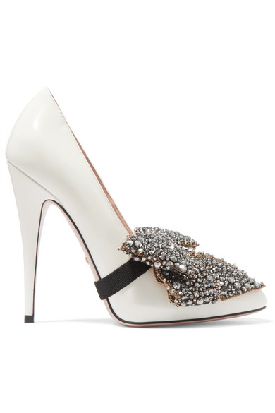 d2f83593c6bf9 Gucci Elaisa Removable Crystal Bow & Leather Point Toe Pumps In White