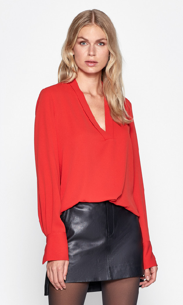 Equipment Charlina Plunging Silk Blouse In Aura Orange