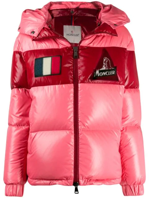 Moncler 'gary' Detachable Hood Colourblock Down Puffer Jacket In Pink