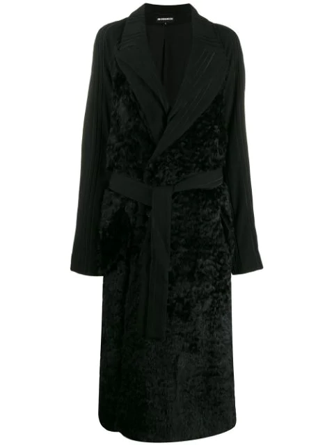 Ann Demeulemeester Panelled Longline Coat In Black