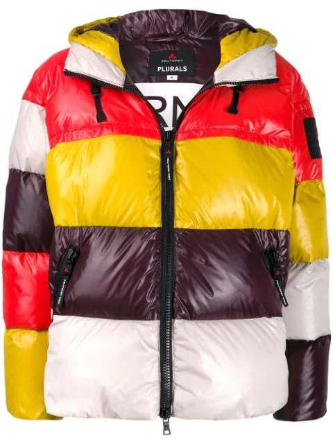 Peuterey Colour-block Hooded Puffer Jacket In Purple