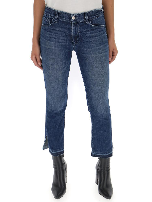 J Brand Selena Side Slit Detail Cropped Jeans In Blue