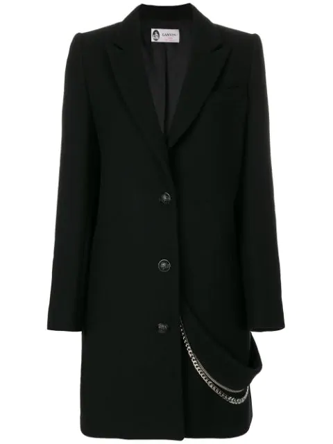 Lanvin Classic Coat With Chain In Black