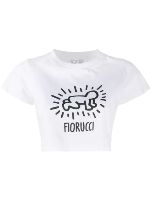 Fiorucci Keith Haring Cropped Top In White