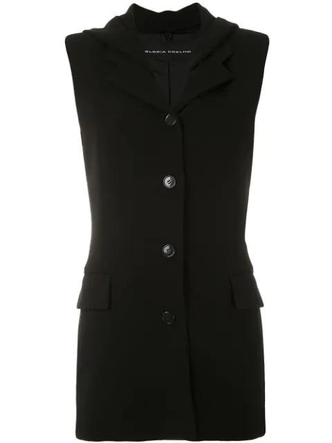 Gloria Coelho Sleeveless Blazer In Black