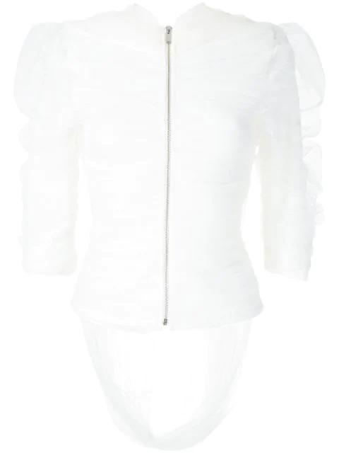 Gloria Coelho Drapiertes Oberteil In White
