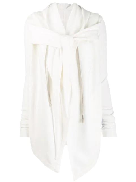 Rick Owens Drkshdw Wrap Style Hoodie Jacket In White