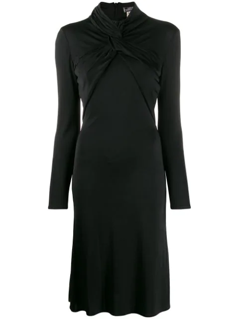 Versace 1990s Twist Detail Dress In Black