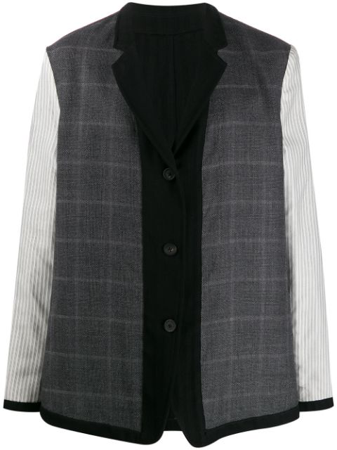 Ann Demeulemeester Mixed Pattern Panelled Jacket In 099   Black