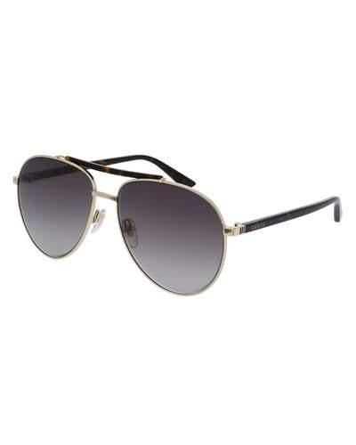 e467bdd06d6ae Gucci Retro Web 61Mm Aviator Sunglasses - Ruthenium W.Mirror Gun Lens