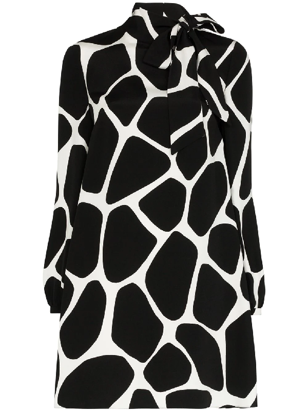 Valentino Giraffe Print Long Sleeve Silk Minidress In Black