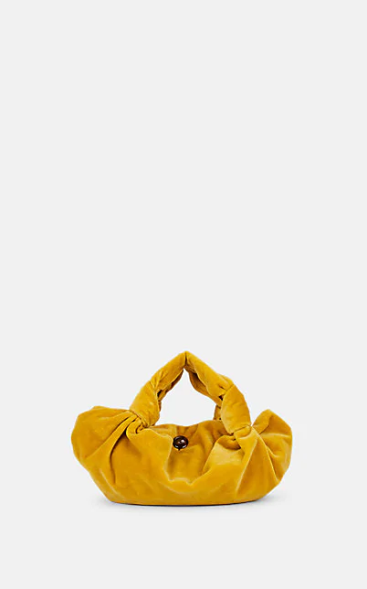 The Row Ascot Two Mustard Velvet Top Handle Bag In Yellow