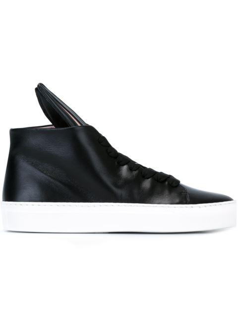 Minna Parikka 20Mm Bunny Sneaks Leather Sneakers, Black