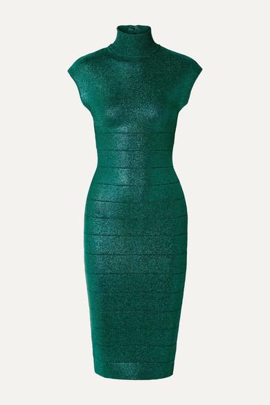Herve Leger Shimmer Bandage-knit Mock-neck Bodycon Dress In Emerald