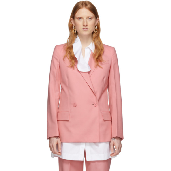 Givenchy Double Breasted Lightweight Wool Jacket In 672 Pink