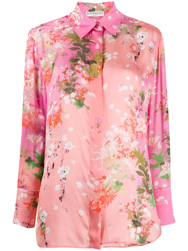 Givenchy Floral Printed Silk Charmeuse Shirt In Pink