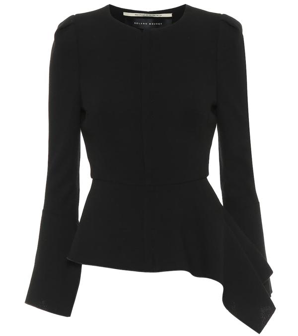 Roland Mouret Noto Asymmetric Wool-crepe Jacket In Black