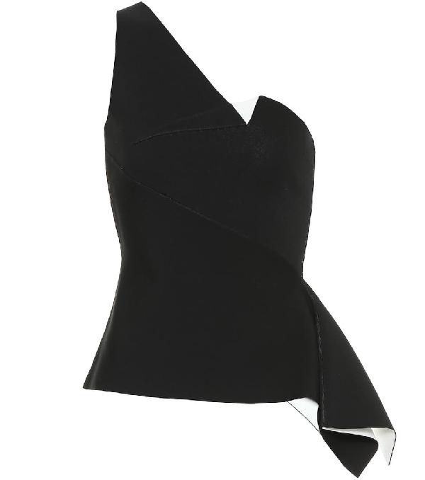 Roland Mouret Rydal One-shoulder Knit Top In Black