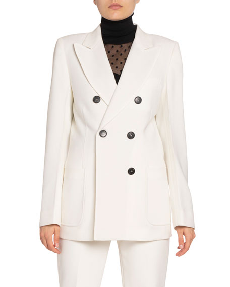 Victoria Beckham Wool Double-Breasted Blazer Jacket In Off White
