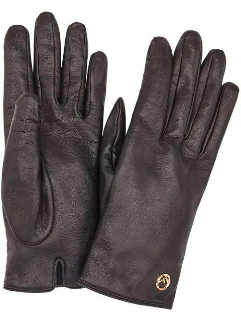 Fendi Leather Logo Gloves In Black