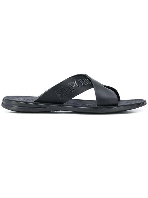 Emporio Armani Logo Pool Slides In A792 Black