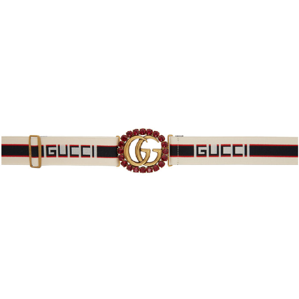Gucci Off-white Crystal Gg Elastic Belt In 9588 Ivory