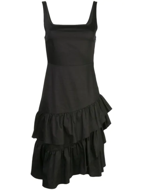Cynthia Rowley Eva Polished Ruffle Dress In Black