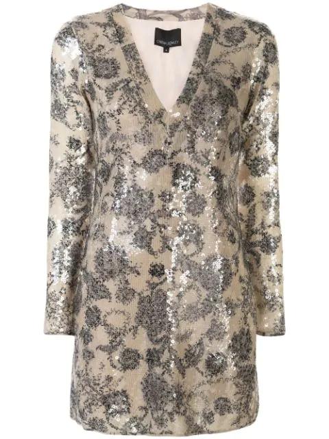 Cynthia Rowley Malia Sequin Dress In Neutrals