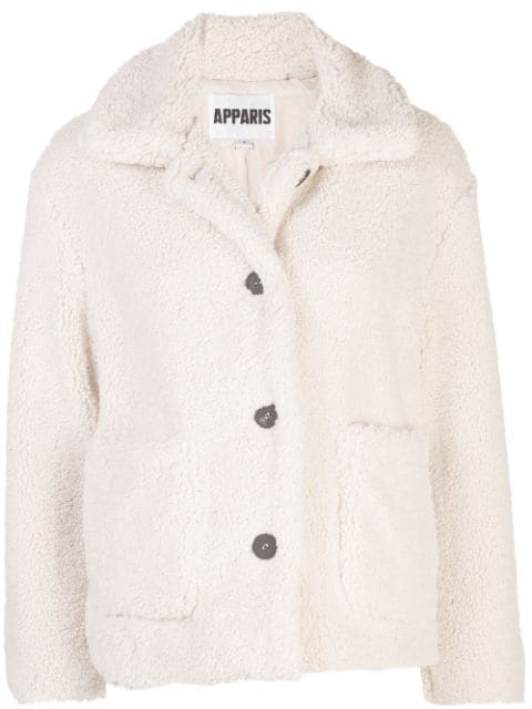 Apparis Charlotte Faux-shearling Jacket In White
