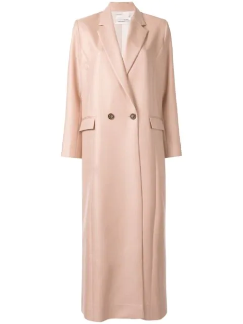 Bouguessa Long Double Breasted Blazer In Light Pink