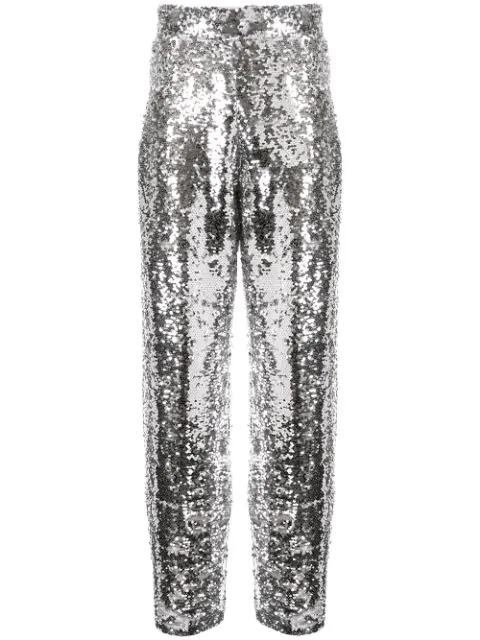 Bouguessa Sequinned Straight Leg Trousers In Silver