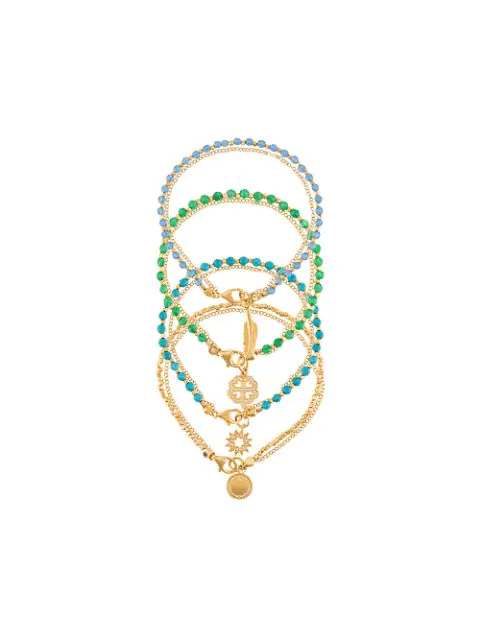 Astley Clarke The Summer Elements Bracelet Stack In Gold