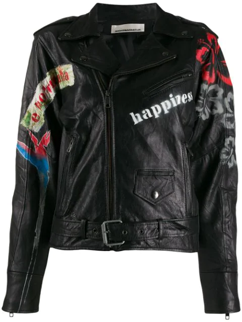 Night Market Aloha Biker Jacket In Black
